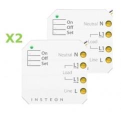 Pack 2x Insteon Micromódulo On-Off con 1 zona en instalación oculta. Micro On-Off