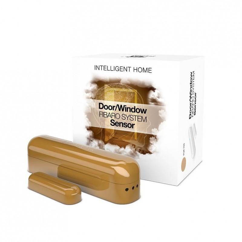 Sensor de apertura puerta y ventana Fibaro roble Z-Wave Plus