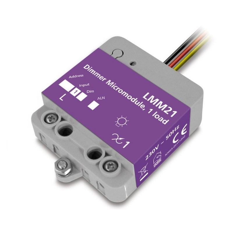 Micromódulo X10 dimmer regulación 1 zona de iluminación para instalación oculta Marmitek. LMM21