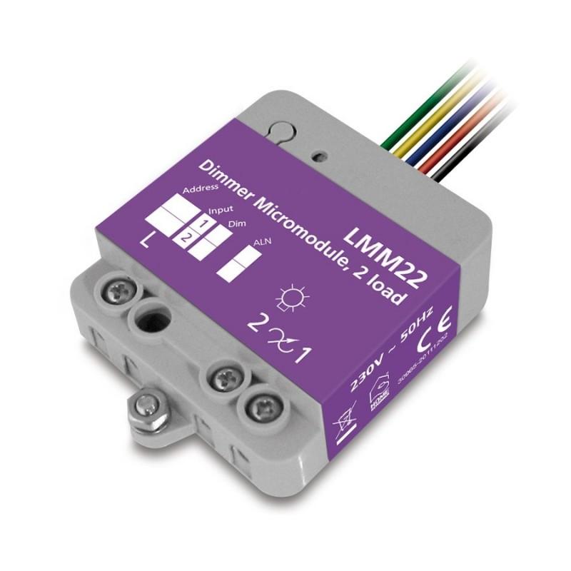 Micromódulo X10 dimmer regulación 2 zonas de iluminación para instalación oculta Marmitek. LMM22