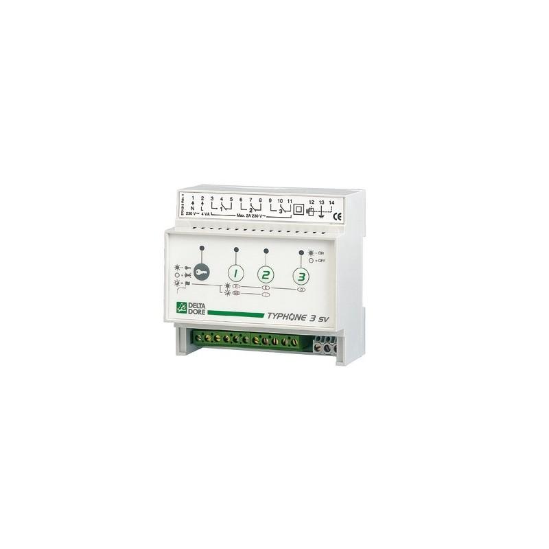 Controlador telefónico Delta Dore para carril DIN con 3 salidas. TYPHONE 3 SV