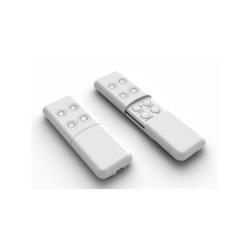 Mando de cuatro botones, a pilas y recargable por usb, color blanco
