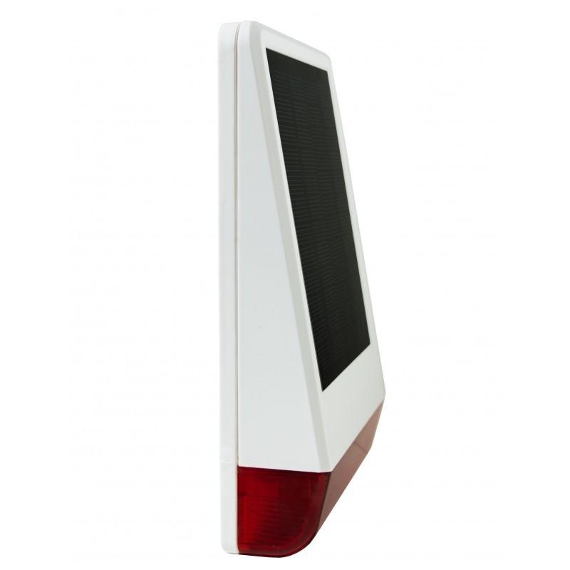Sirena de exterior solar, 105 db, con luz de aviso, protección antimanipulación, sensor de temperatura, Ip56.