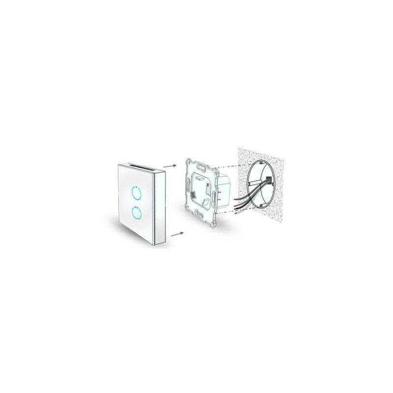 Interruptor táctil blanco de cristal MCO HOME con botón azul iluminado on/off Z-wave