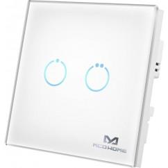 Interruptor táctil blanco de cristal MCO HOME con dos botones azules iluminados on-off Z-wave