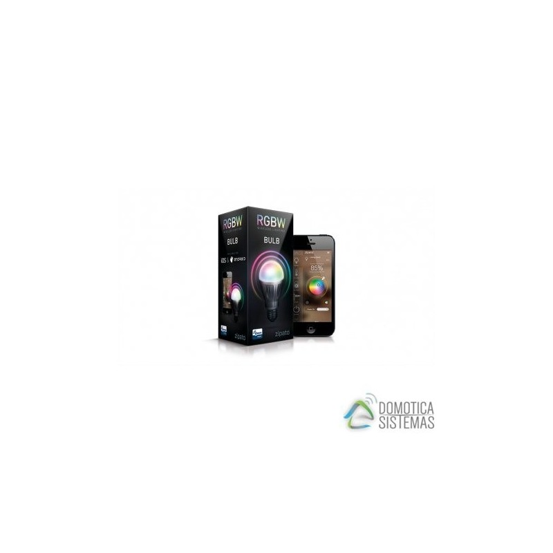 Bombilla E27 Zipato RGBW con combinación de colores y de luz blanca 6w Z-wave