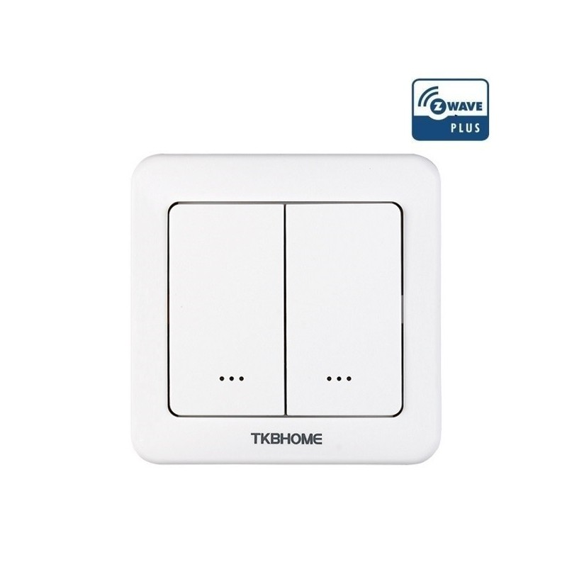 Interruptor de pared con módulo dimmer regulador TKB Home integrado de una sola carga y dos teclas Z-wave Plus