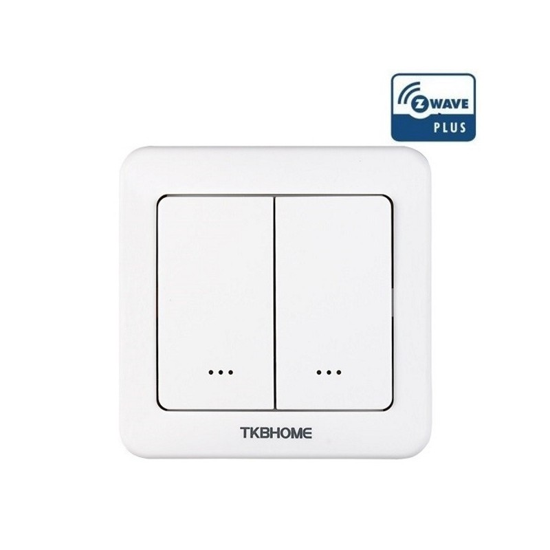 Interruptor de pared con módulo on-off TKB Home integrado de una sola carga y dos teclas Z-wave Plus