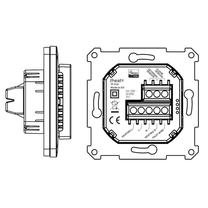 Termostato de pared Heatit 3600W 16A Z-Wave Plus Negro