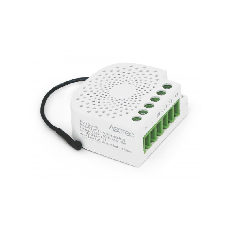 Micromódulo interruptor Aeotec Nano switch oculto On/Off con medición de consumo Z-wave Plus