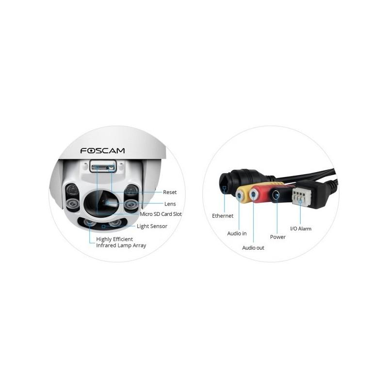 Cámara IP FI9928P WIFIde exterior motorizada 2.0 Megapixel 1080p slot Micro SD, Zoom x4 - 60m visión nocturna
