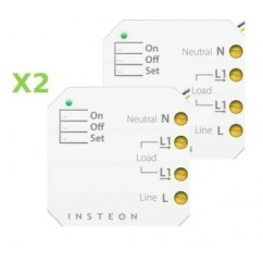 Pack 2x Insteon Micromódulo On-Off con 1 zona en instalación oculta. Micro On-Off