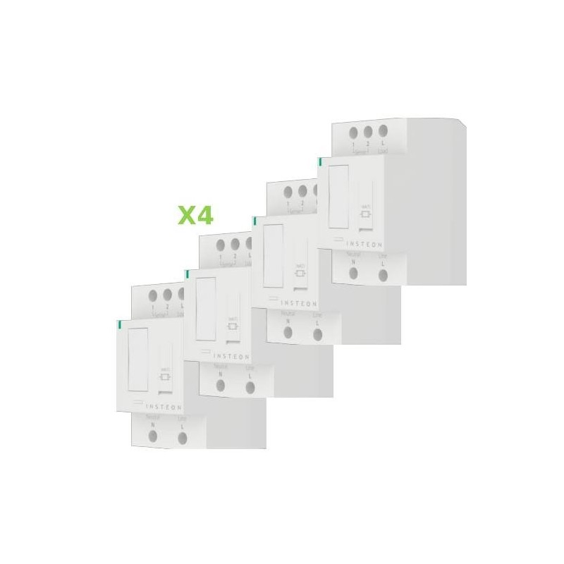 Pack 4x Insteon Módulo On-Off para carril Din en cuadro eléctrico. DIN Relay
