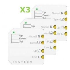 Pack 3x Insteon Micromódulo para subida y bajada de persianas, toldos y estores motorizados. Micro Open-Close