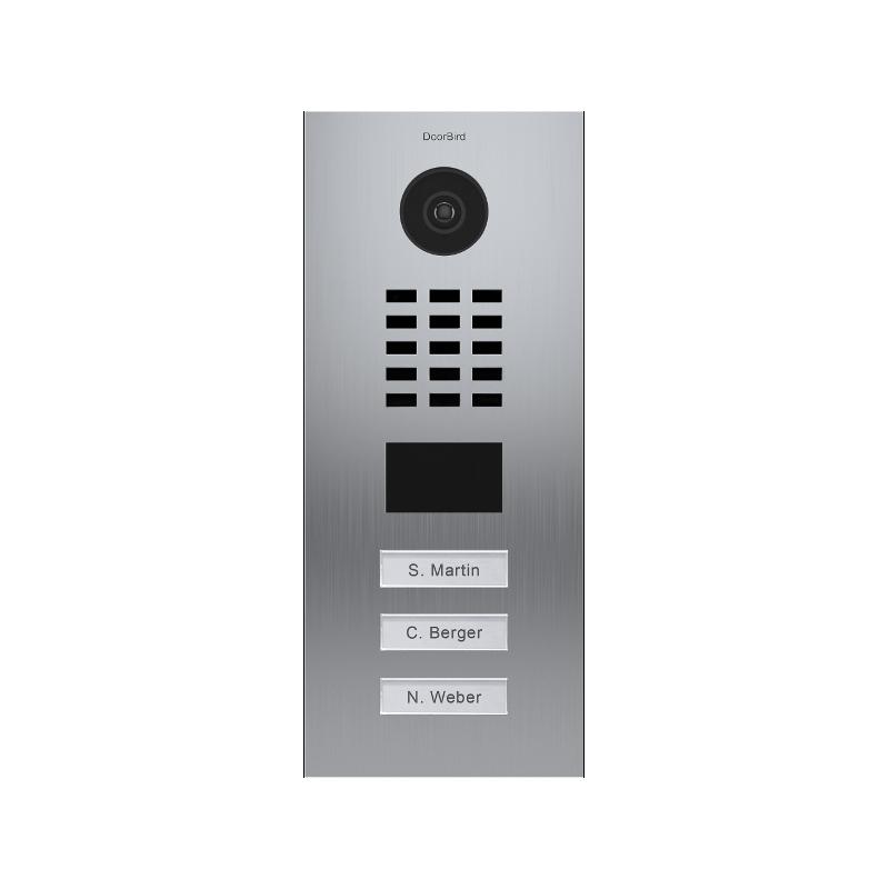 Videoportero IP Doorbird empotrable de acero inoxidable con tres botones conectado a internet D2103V