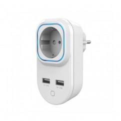 Enchufe con control de consumo Z-Wave Plus HANK con 2 puertos USB