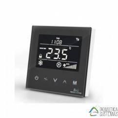Termostato empotrable (negro) para Fan-Coil MCO HOME de aire acondicionado centralizado de dos tuberías Z-wave Plus